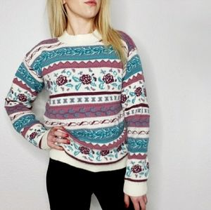 80-90s Vintage Floral Striped Chunky Knit Sweater